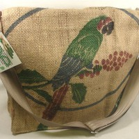Recycled Coffee Burlap Sack MESSENGER BAG by itsourearth on Etsy