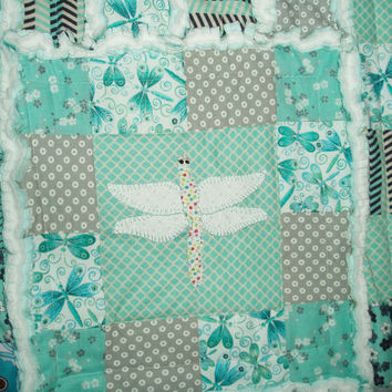 """Gorgeous Original """"Dragonfly Dreams"""" Memory Baby Quilt Gentle teal, white, gray Hand Embroidered Heirloom Rag Quilt"""