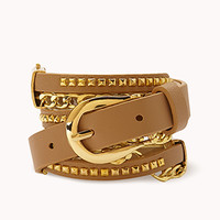 FOREVER 21 Cool Girl Studded Chain Belt Taupe Med/Lg