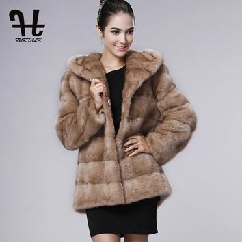 FURTALK Real Womens Mink Fur Coat with Big Luxury Hood New Arrivals Winter Women Mink Fur Jacket Fur Fashion