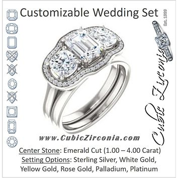 CZ Wedding Set, featuring The Aimi Namiko engagement ring (Customizable 3-stone Design with Emerald Cut Center, Large Round Cut Accents, Triple Halo and Bridge Under-halo)