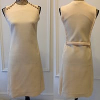 60's Vintage Tan Shift Dress  - decorative buttons - sleeveless - work dress