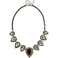 River Island Womens Black teardrop repeat woven necklace