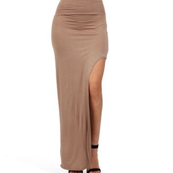mocha thigh high slit maxi skirt from my wishlist