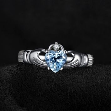 Natural Aquamarine Sterling Silver Ring