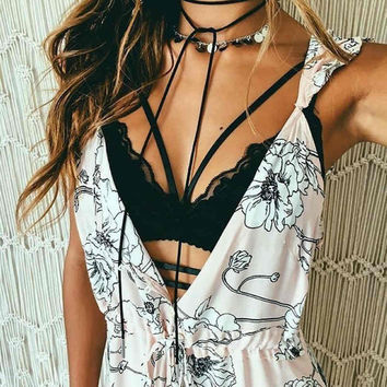 Sexy Solid Color Strappy Lace Push Up Bralette