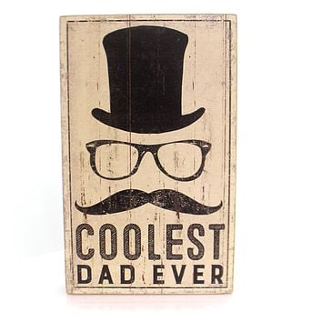Home Decor COOLEST DAD BOX SIGN Wood Father's Day 32826