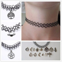 New Stretch Tattoo Choker Necklace Retro Gothic Punk Elastic 80s 90S Henna Charm