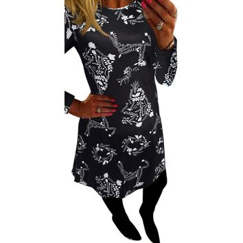 Women Autumn Dress Xmas Print Floral Robe Retro Swing Casual Vintage Dresses Vestidos Long Sleeve Flared Party Dresses