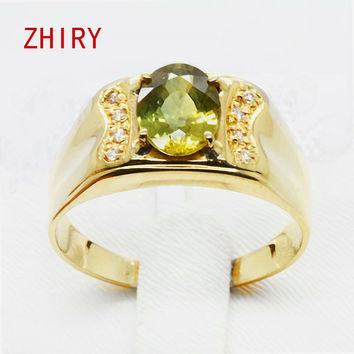 Man 18K gold Natural yellow sapphire ring Gemstone 1.4 ct Men Jewelry rings