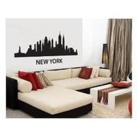 "Wall Decal Sticker New York Skyline 22.5"" Tall 48"" Wide in Black FGD Brand"