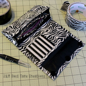 Womens Duct Tape Wallet, Accordion Trifold ~Zebra Print. Women Wallet/Trifold Wallet/Accordion Wallet/Duct Tape Craft/Unique Gift/Homemade