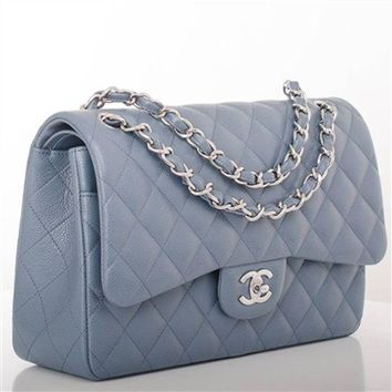 PEAPGQ6 Chanel Steel Grey Blue Quilted Caviar Leather Jumbo Double Flap Bag Full Set