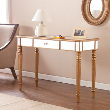 Upton Home Champagne Gold Fontaine Mirrored Sofa/ Console Table | Overstock.com Shopping - The Best Deals on Coffee, Sofa & End Tables