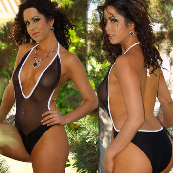 New Sexy Women Mesh See Through High Cut Bodysuit Thong One Piece Swimsuit Mesh Transparent Brazilian Black Swimwear