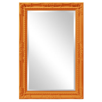 "Howard Elliott Queen Ann Rectangular Glossy Orange Mirror 24"" x 36"" x 1"""