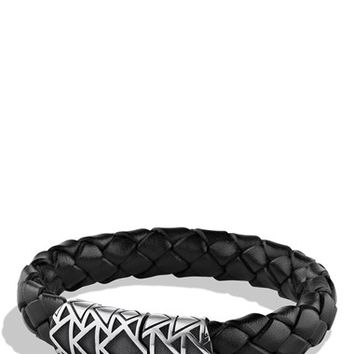 Men's David Yurman 'Frontier' Woven Bracelet in Black with Turquoise