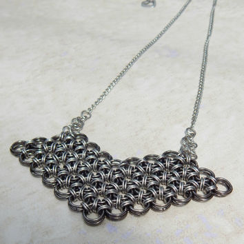 Chevron Necklace in Stainless Steel Chainmail // Japanese Weave Chain Maille Necklace // Medieval Jewelry // Renaissance Necklace // Goth