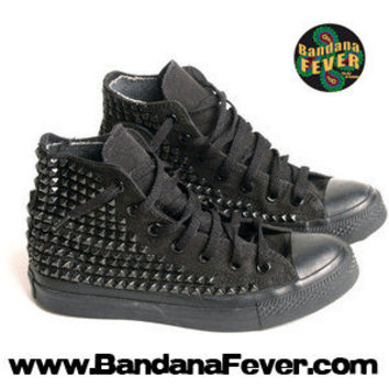 Bandana Fever Custom Studded Black Mono Converse All-Star Chuck Taylor Hi Black Pyramid Studs Sides