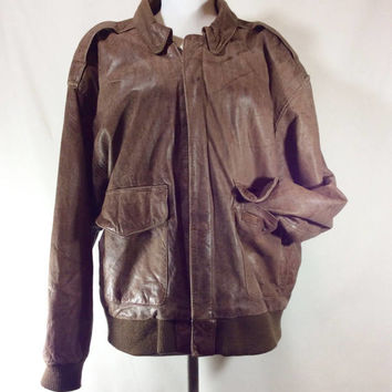 Unisex Vintage Distressed Brown Leather Bomber Jacket with Map Lining size M