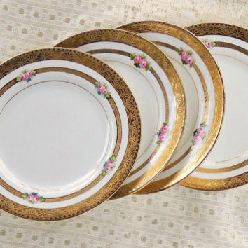 Sutherland Bread and Butter Plates, Set of 4, Vintage, Antique Plates, Small Plates, Tea Party, Wedding, Cottage Style, Very Rare Pattern