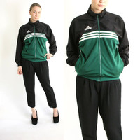 Vintage 80's 90's Adidas Green White Black Stripes Sport Track Jacket, Adidas Windbreaker, Trefoil Jacket