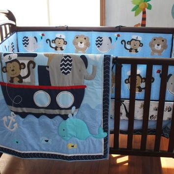 8pc. Infant Boy Blue Sailor Nursery Crib Bedding Set