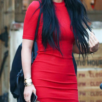 Red Short-Sleeve Asymmetrical Dress