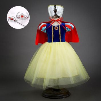 Fall 2017 Children Princess Dresses Size 3 4 5 6 7 8 9 10 Little Girls Clothing Set Halloween Snow White Kid Costumes
