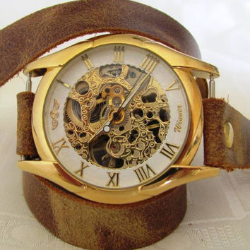 Stylish Retro Leather Band Manual-Winding Mechanical Skelton Gold Watch  FREE SHIPPING