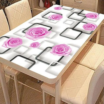 Europea 3d stereoscopic wallpaper tablecloth Photo black and write plaid pink rose 3d table cloth