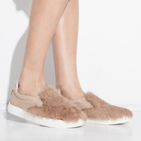 Brown Fur Slip On Shoes