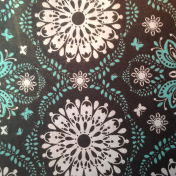 Black and Turquoise Medallion Flannel Cotton Fabric, Quilting, 1/2 Yard, more yardage available