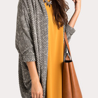 Jasmine Long Black Chevron Cardigan