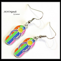 Striped Flip Flop Enamel Charm Earrings - Rainbow Colorful Flip Flops - Tweens Teens Kids Earrings - Womens Jewelry Accessories