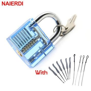 DCCKFS2 NAIERDI Transparent Visible Pick Cutaway Practice Padlock Lock With Broken Key Removing Hooks Lock Extractor Set Locksmith Tool