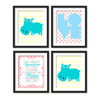 Nursery art, you are my sunshine song, love and two hippo, pink polka dots,yellow diamonds, 4 x (CHOOSE SIZE)