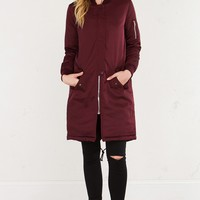 AKIRA Long Bomber Jacket in Burgundy