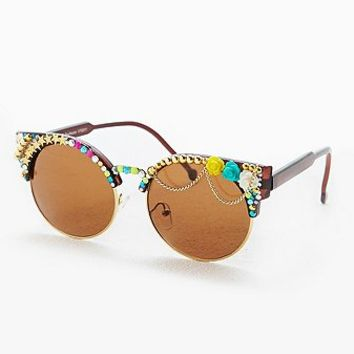 Spangled Embellished Half Frame Round Sunglasses - Urban Outfitters