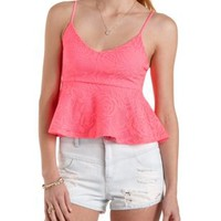 Textured Lace Peplum Top by Charlotte Russe
