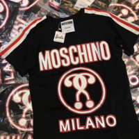 ''MOSCHINO''Hot letters print T-shirt top Black