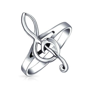 Teacher Bar Measure Treble Clef Note Ring 925 Sterling Silver Band