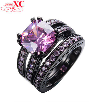 2016 New Gorgeous Fashion Pink Ring Sets Geometric Black Gold Filled Crystal Jewelry Vintage Wedding Rings For Women RB0101