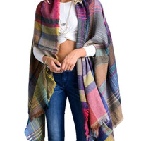 Colorful Plaid Fringe Shawl
