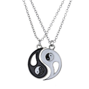 Unisex 1Set Best Friends Ying Yang Taiji Bagua Charm Pendant Necklace Bijouterie Trinket Charms Jewelry