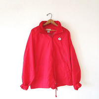Vintage 80's IZOD Red Golf Athletic Lightweight Windbreaker Zip Front Foldable Hooded Jacket Sz L