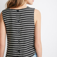Striped Button-Back Top