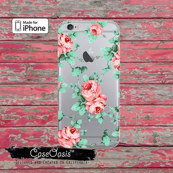 Peony Flower Pattern Pink Floral Cute Tumblr Clear Rubber Phone Case For iPhone 6 and iPhone 6 Plus + Transparent Crystal Custom Case