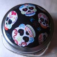 Sugar Skull Pin Cushion with Storage, Upcycled Mason Jars, Set of 2, Pint and Half Pint. Super Cute!