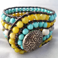Lime Green Turquoise and White Wide Beaded Leather Wrap Cuff Bracelet